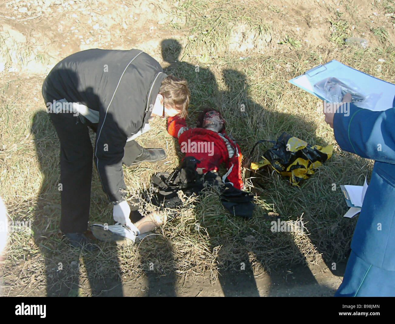 A man killed when a Chechen terrorist bomb struck at the Kislovodsk Minaralnye Vody train on December 5 2003 Stock Photo