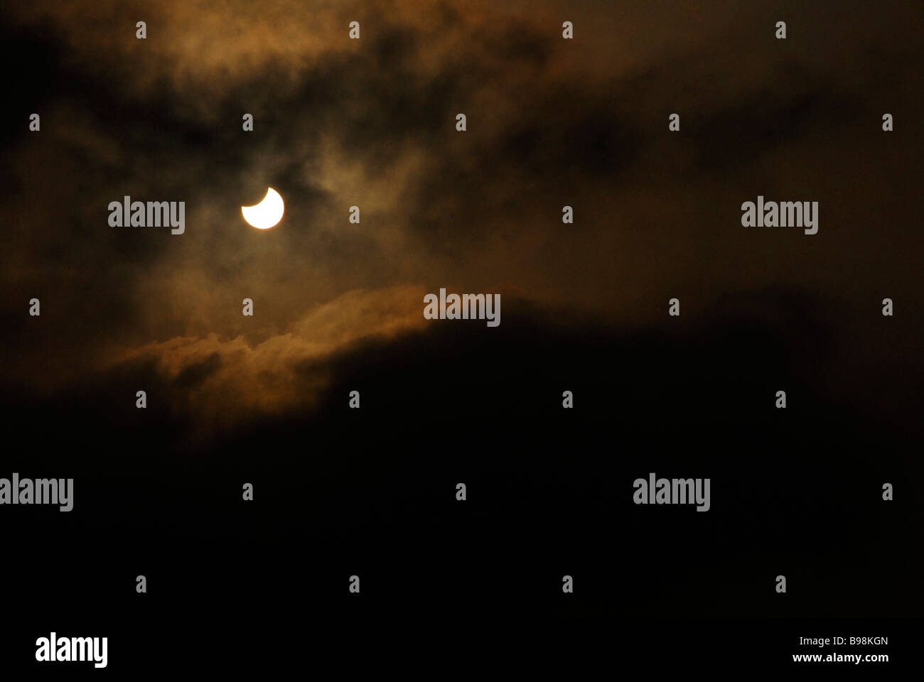 Solar eclipse. Viewed from Puri, Orissa, India, - Stock Image