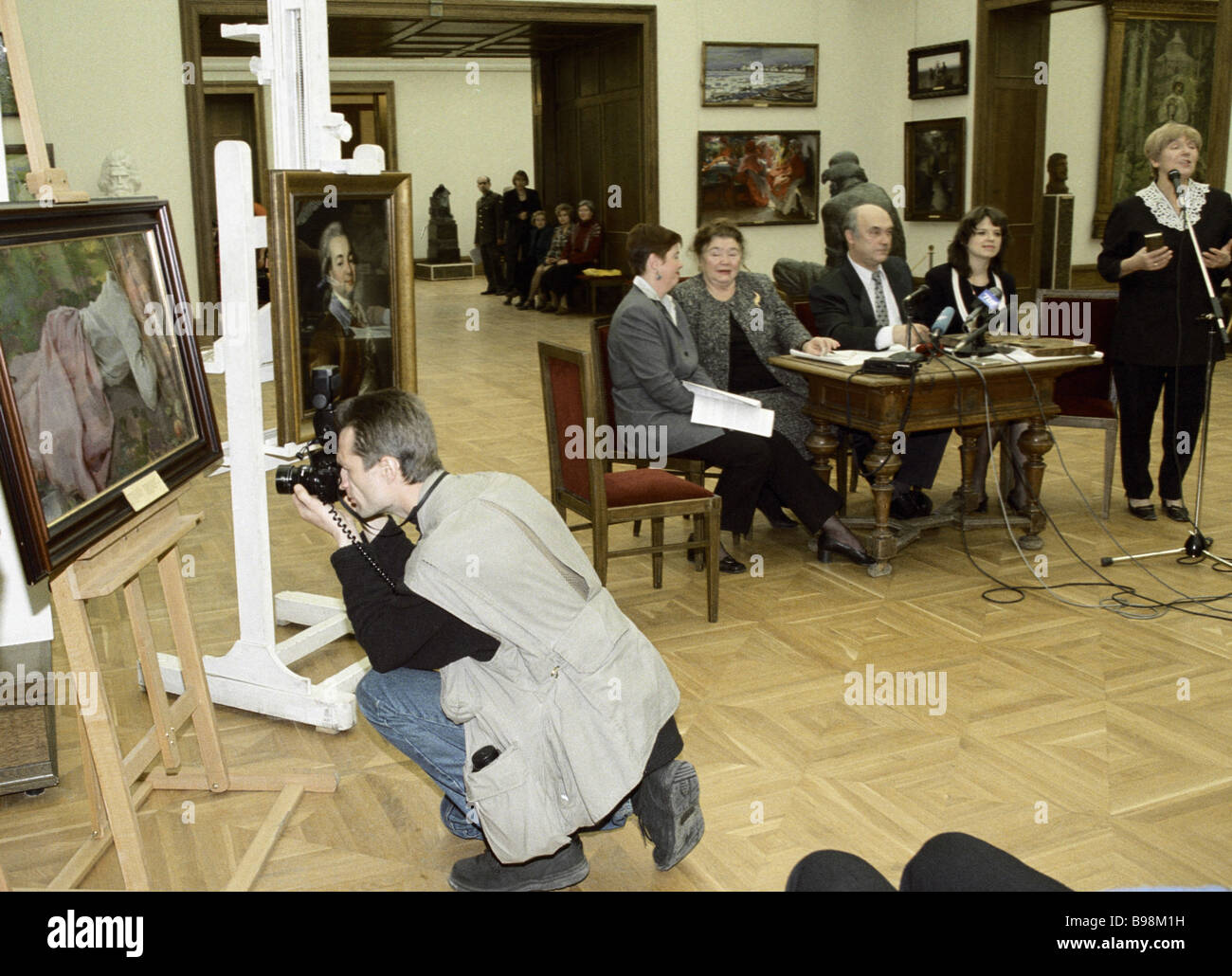 Presentation of Russian classic art works bought by the Tretyakov State Gallery in 1998 1999 - Stock Image