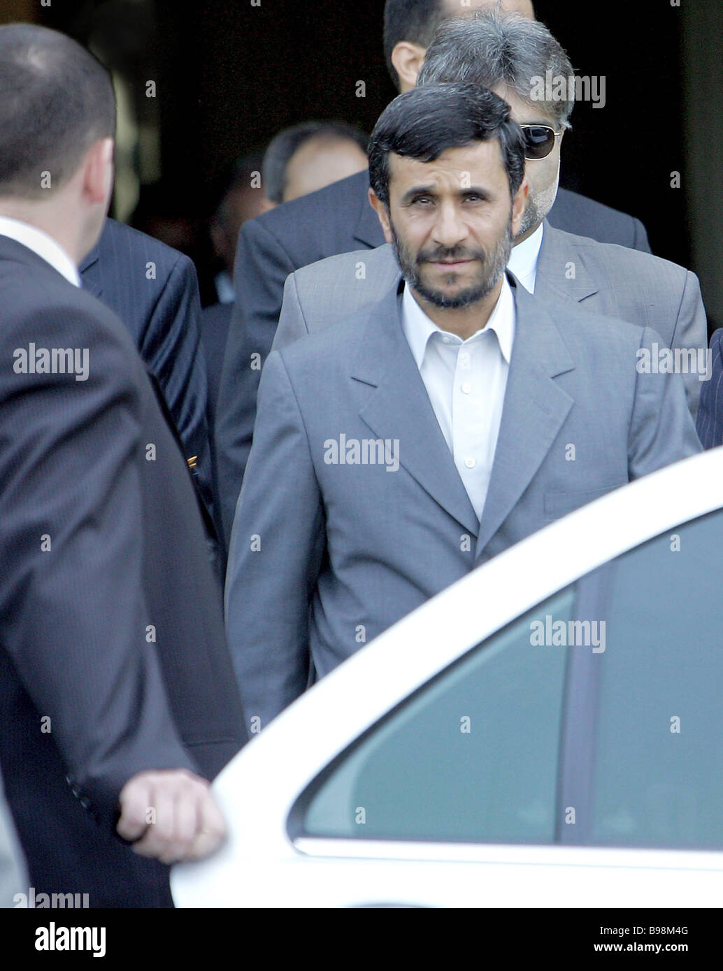 President Mahmoud Ahmadinejad of Iran arrives in Minsk for an official visit - Stock Image