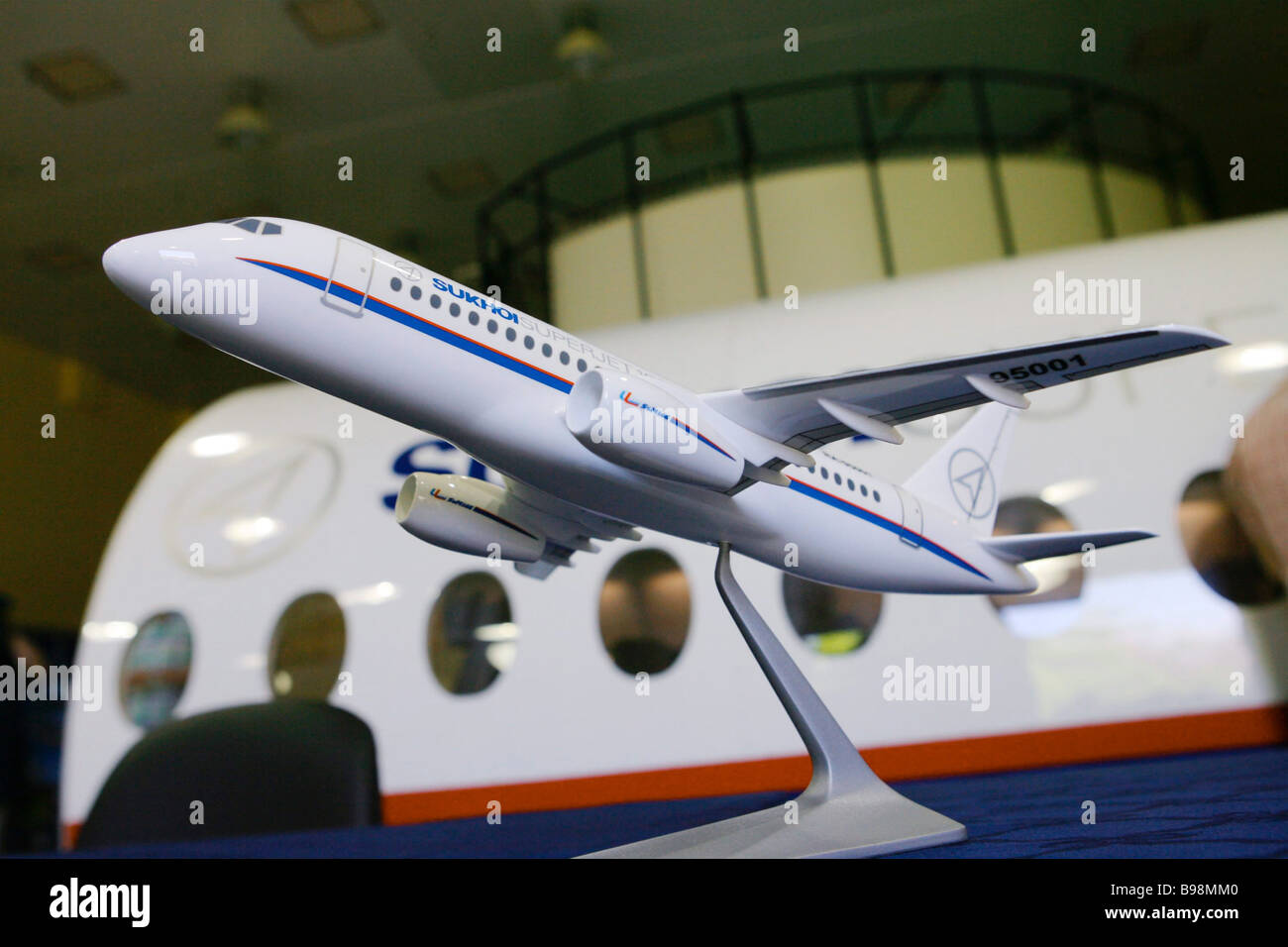 A model of the new Russian SuperJet 100 plane at the Sukhoi design bureau - Stock Image