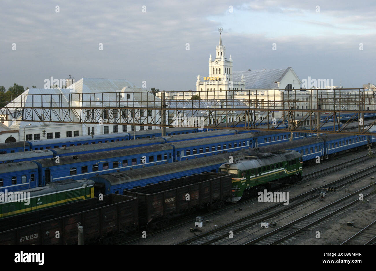 Railway terminal Brest Belarus - Stock Image