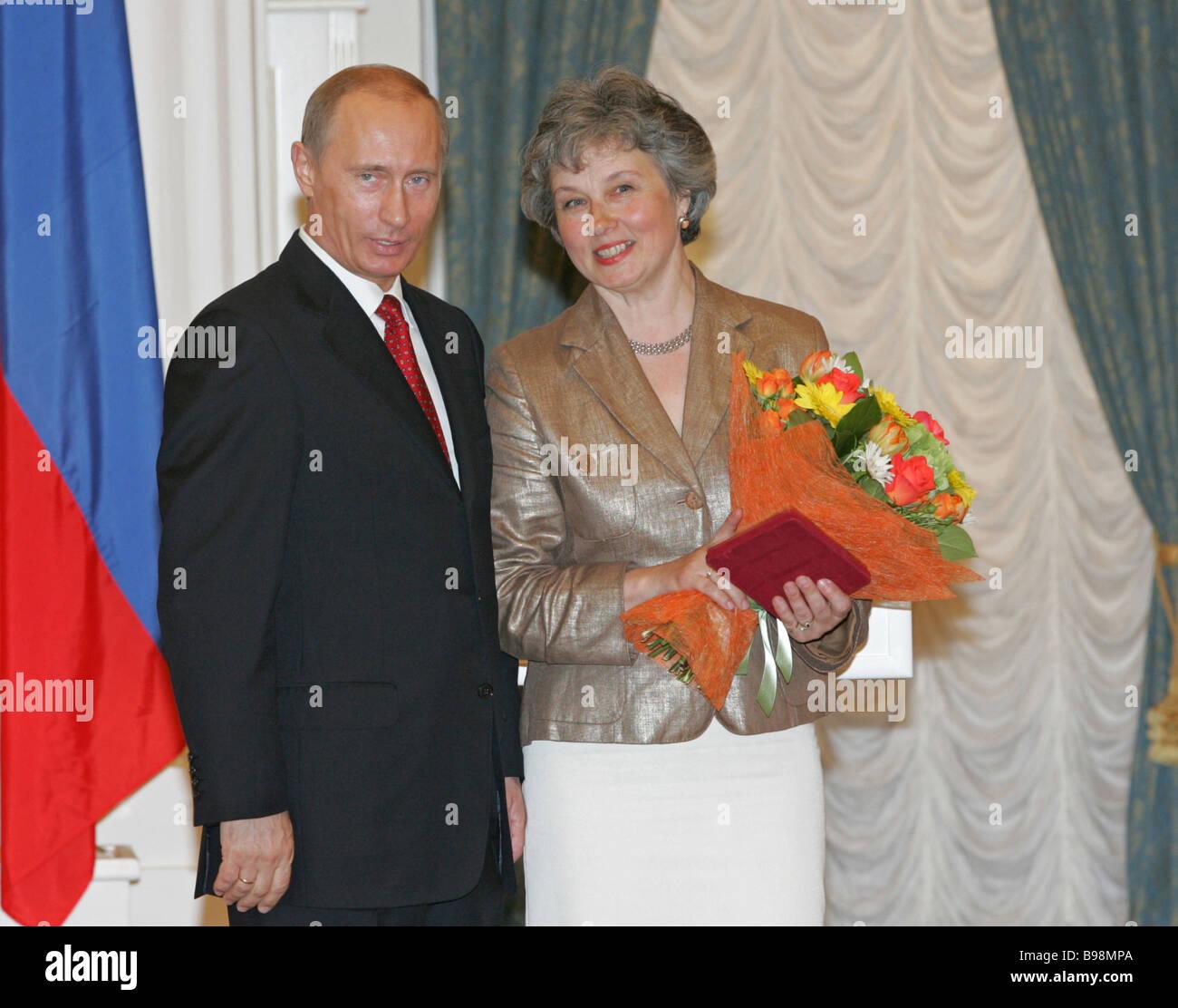 Russian President Vladimir Putin Congratulated Yekaterina Filippova Stock Photo Alamy