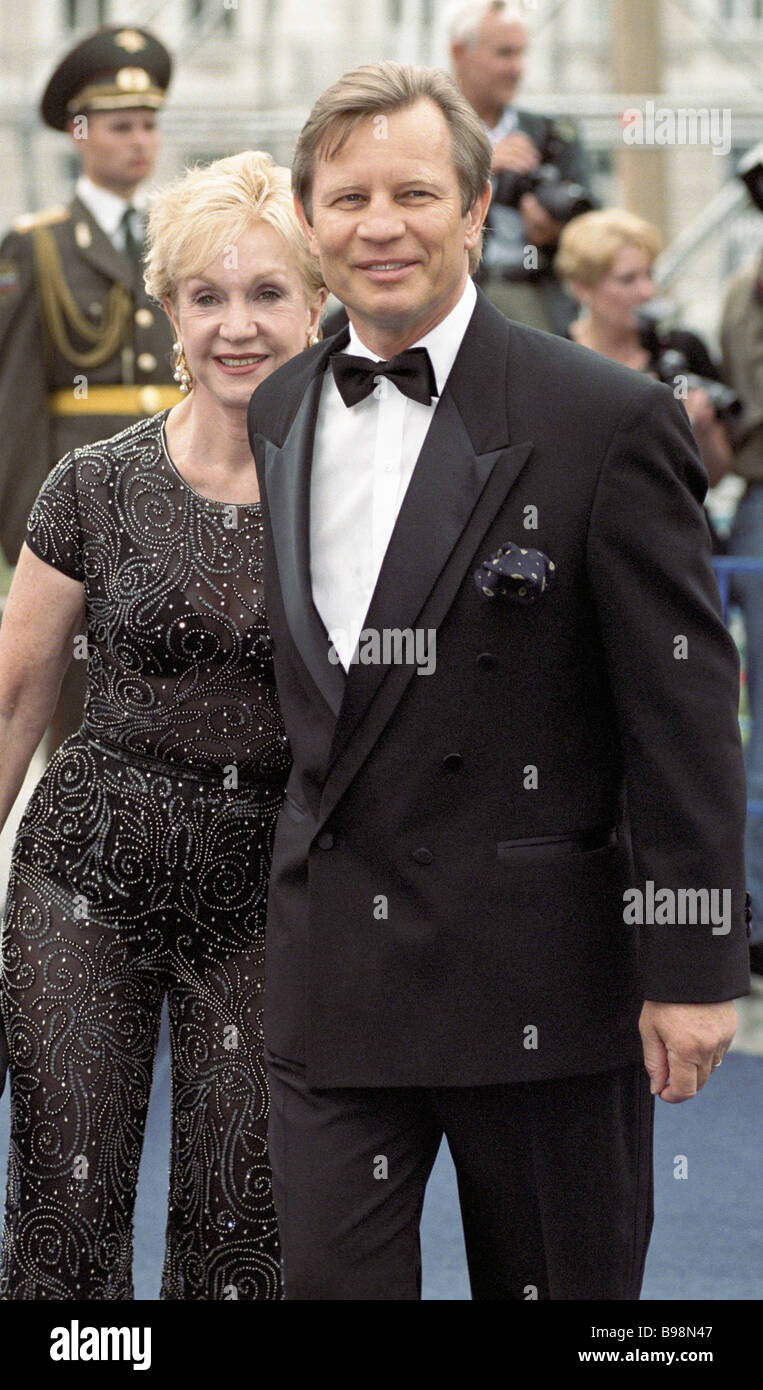 Guests of the 21st Moscow film festival American actor Michael York and his wife Pat - Stock Image