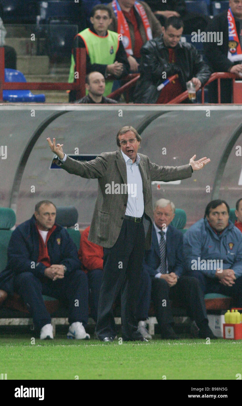 Chief coach Yuri Semin center of the Russian football national team at the Russia Luxemburg selection match at the - Stock Image