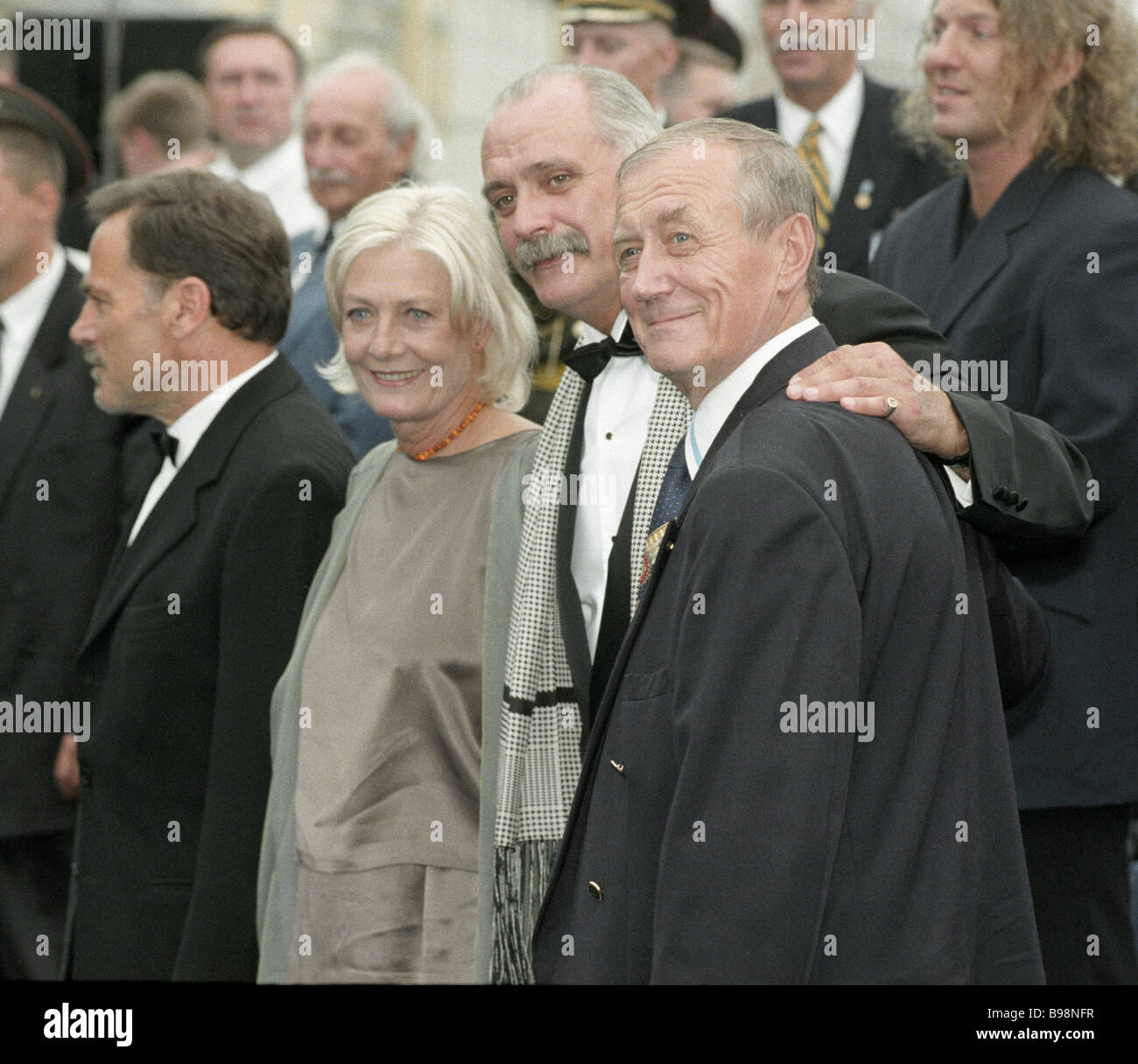 Poet Yevgeny Yevtushenko president of the 21st Moscow International Film Festival director Nikita Mikhalkov British - Stock Image