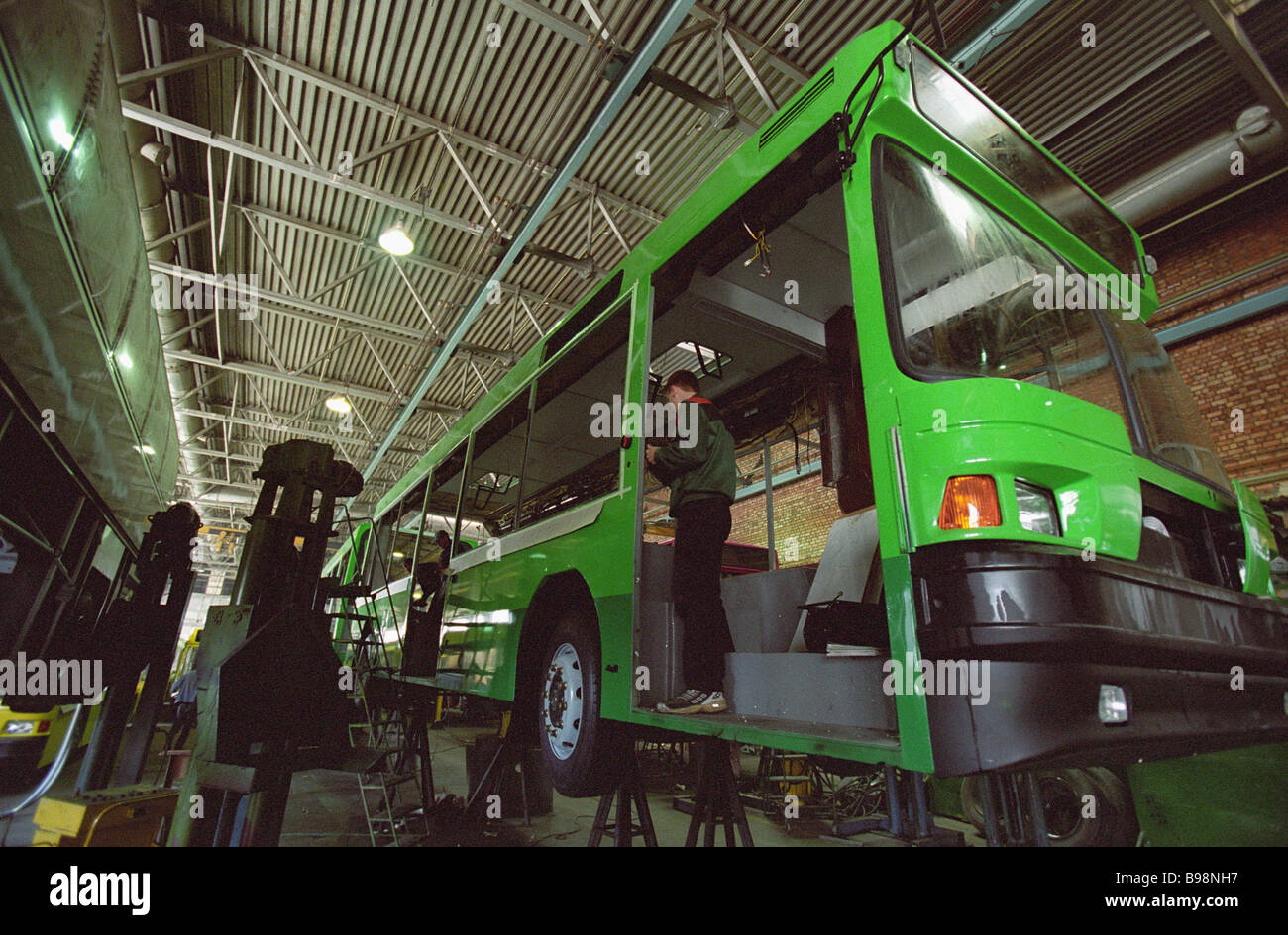 Bus assembly at the MAZ factory Minsk Belarus - Stock Image