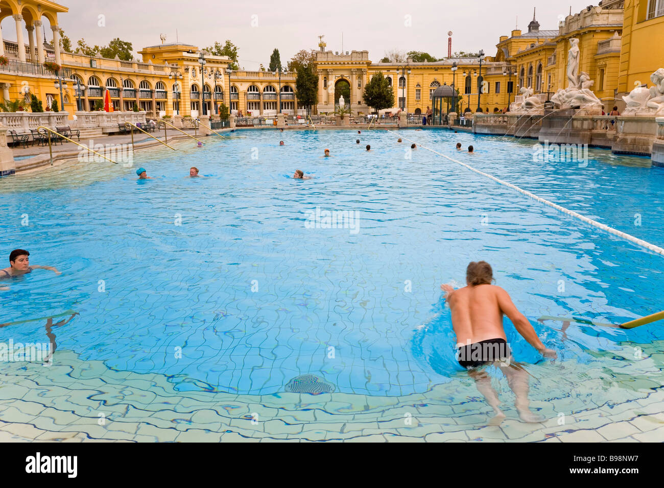 Thermal baths pools Szechenyi Baths Budapest Hungary - Stock Image