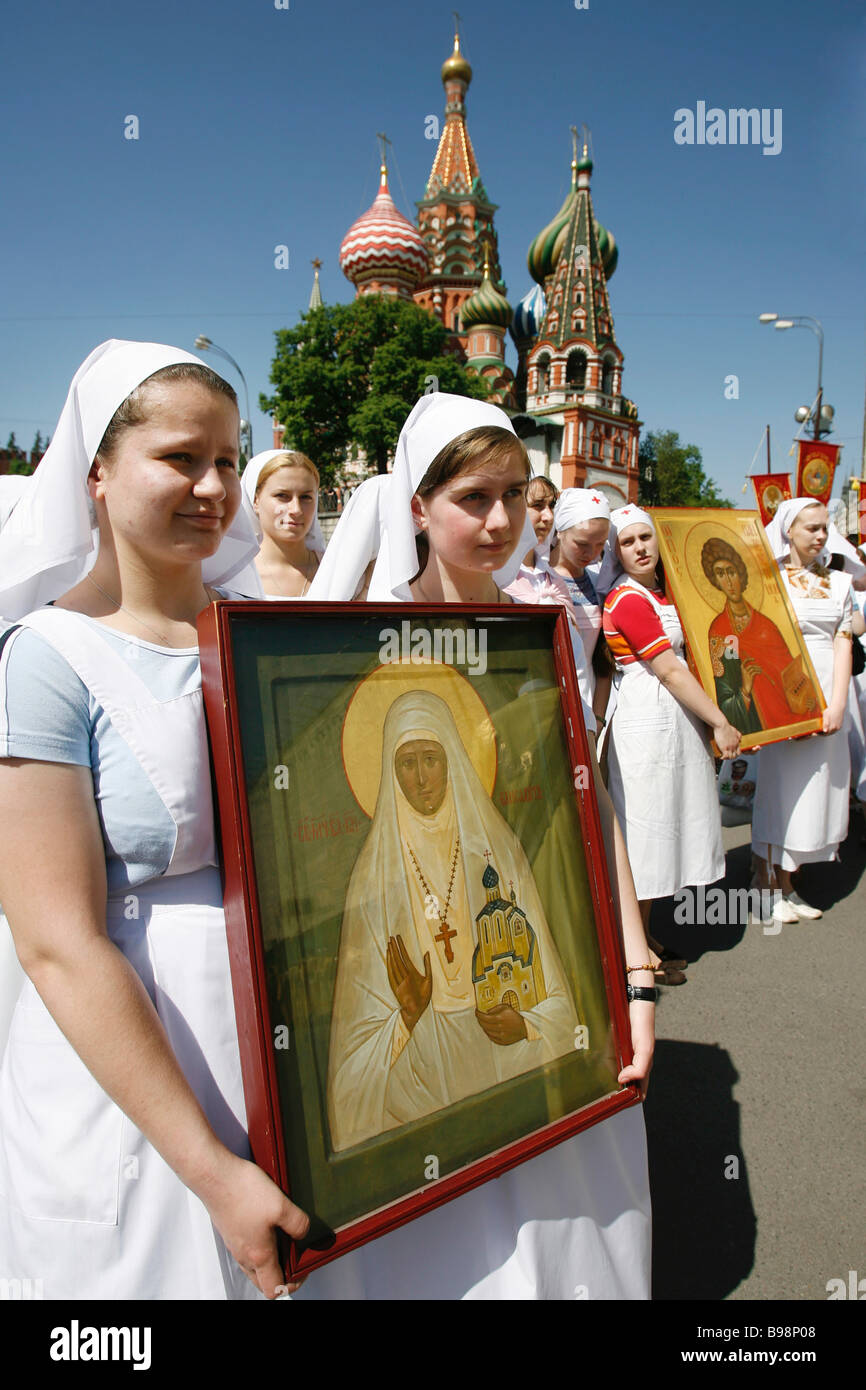 Religious procession dedicated to Slavic Alphabet and Culture Day - Stock Image