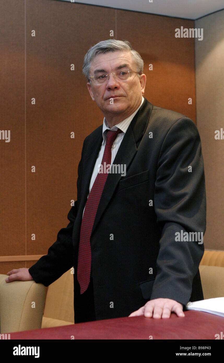Russian Pension Fund chairman Gennady Batanov at the Duma session Stock Photo
