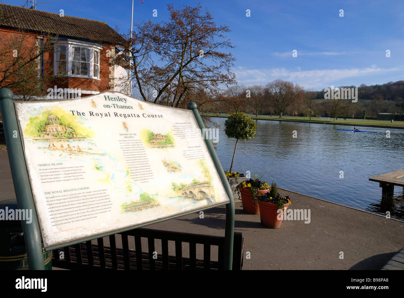 Henley on Thames Royal Regatta course sign with rower on river - Stock Image