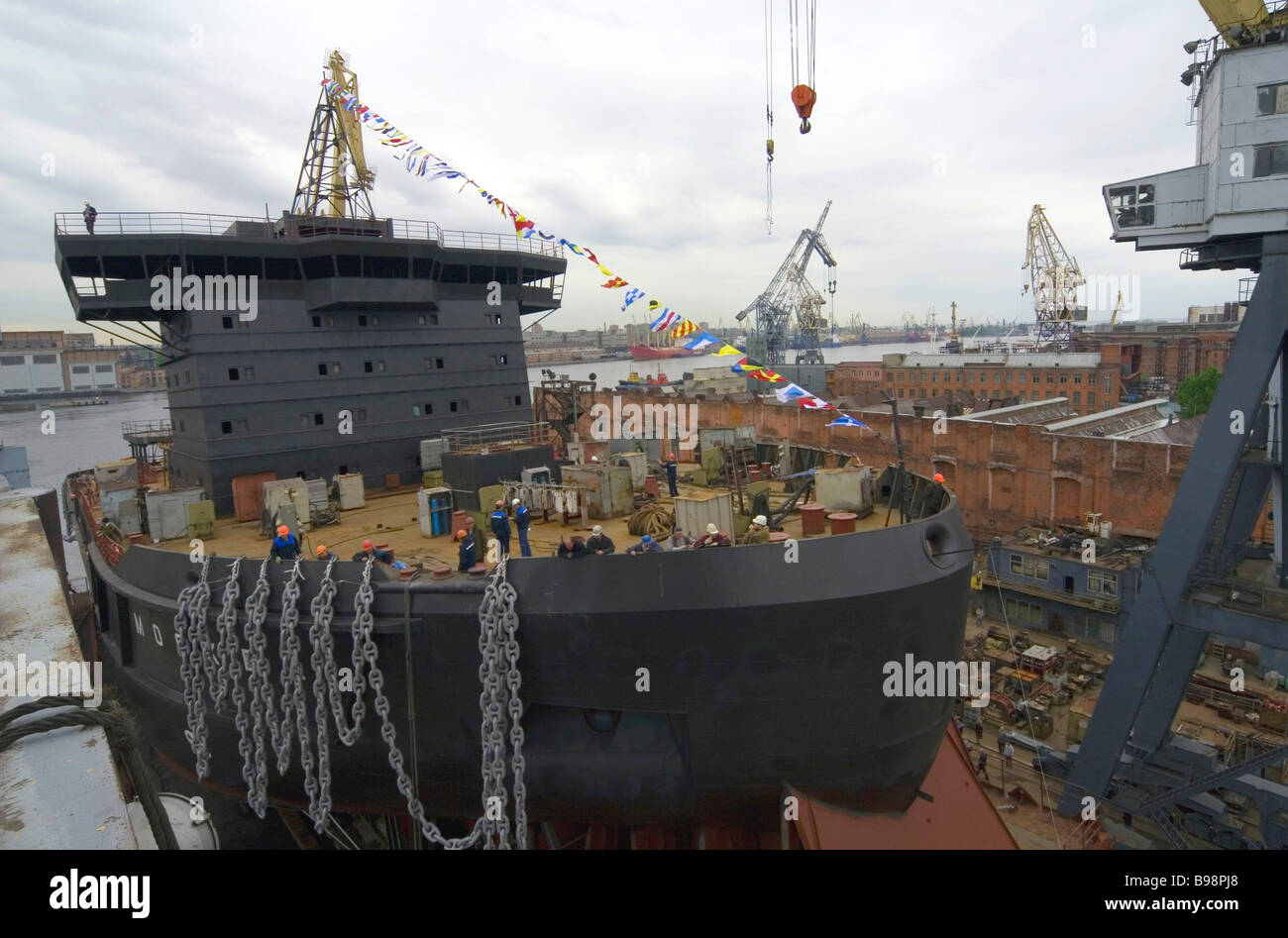 The new project multi functional ice breaker Moskva launched in the shipyards Baltiysky Zavod St Petersburg is the - Stock Image