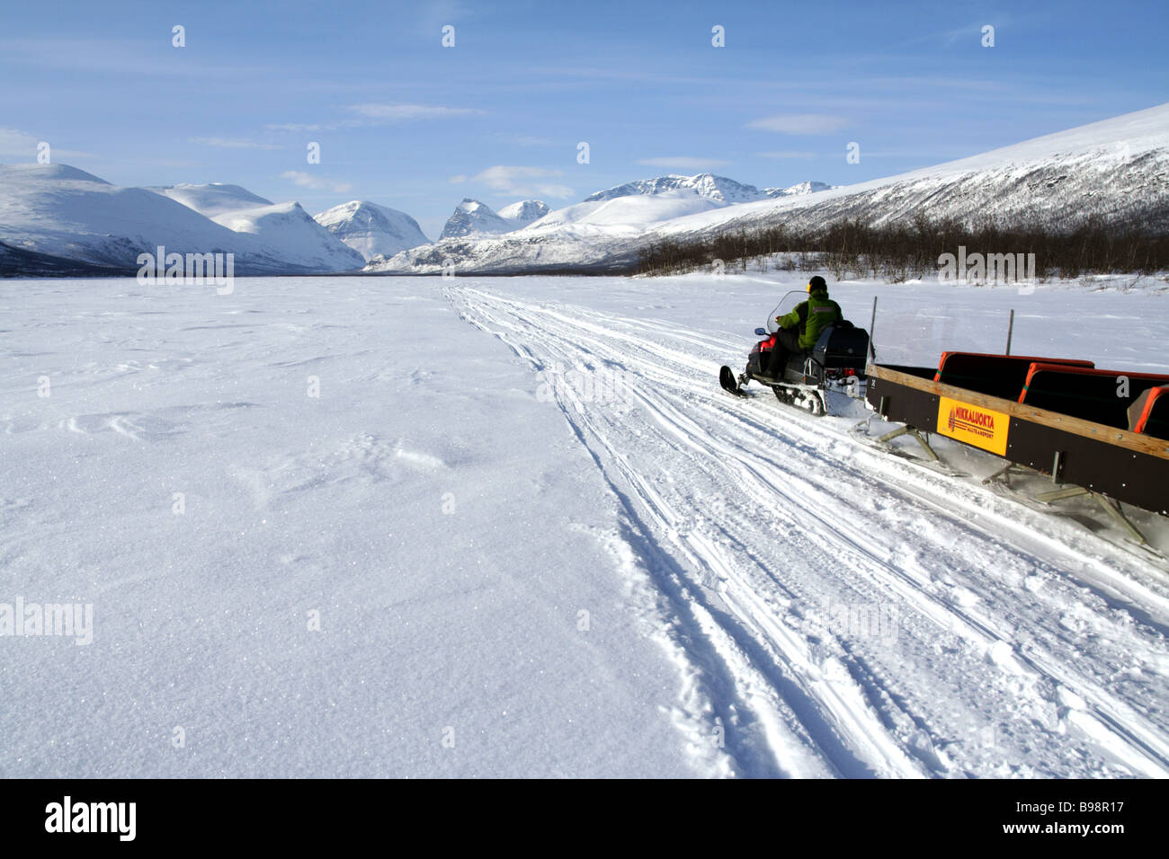 Snowmobile in the Swedish Lapland - Stock Image