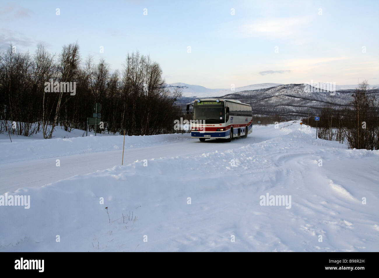 Bus in the Swedish Lapland - Stock Image