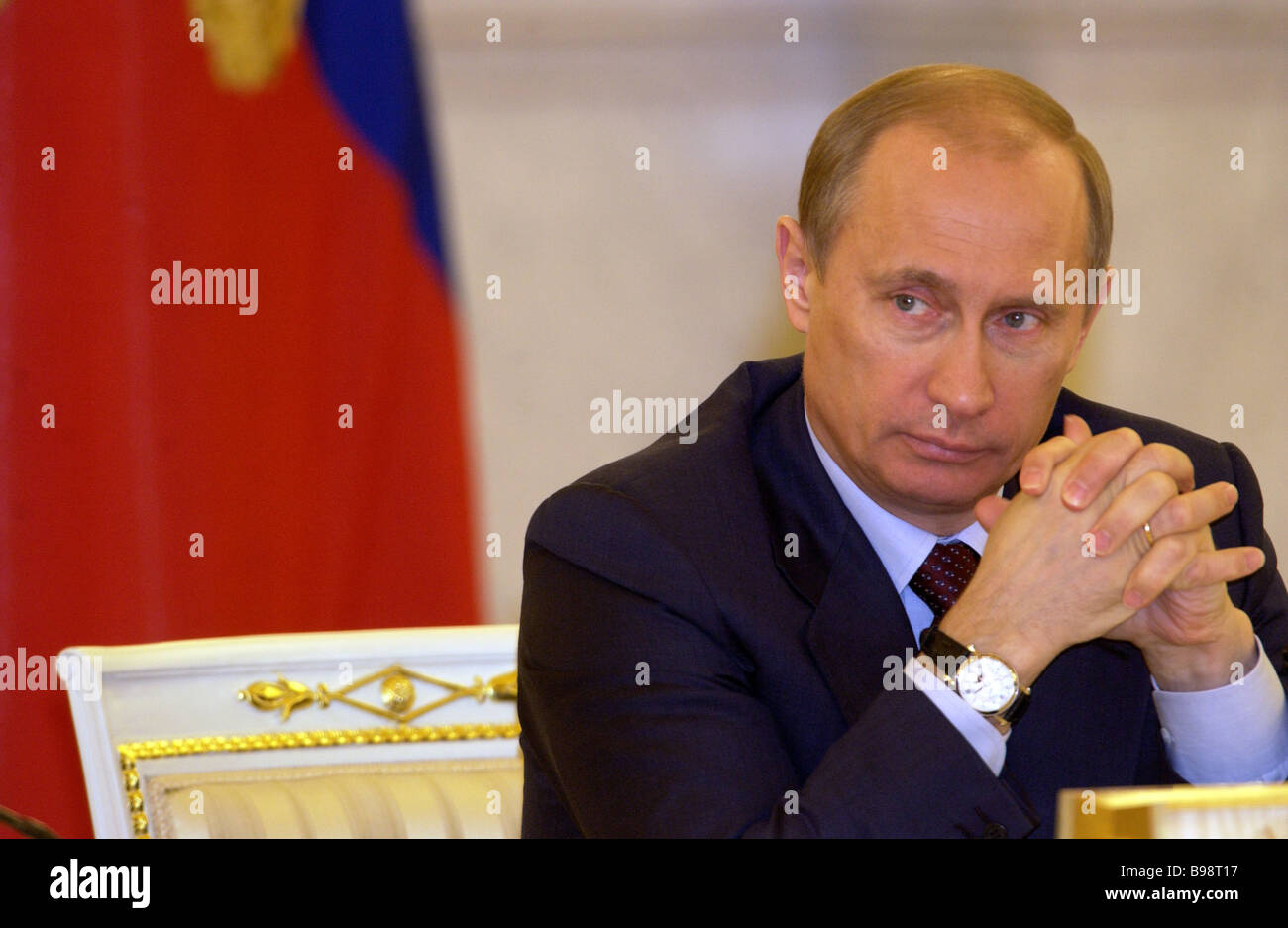 Russian President Vladimir Putin at a conference of the Council of Lawmakers in the Grand Kremlin Palace - Stock Image