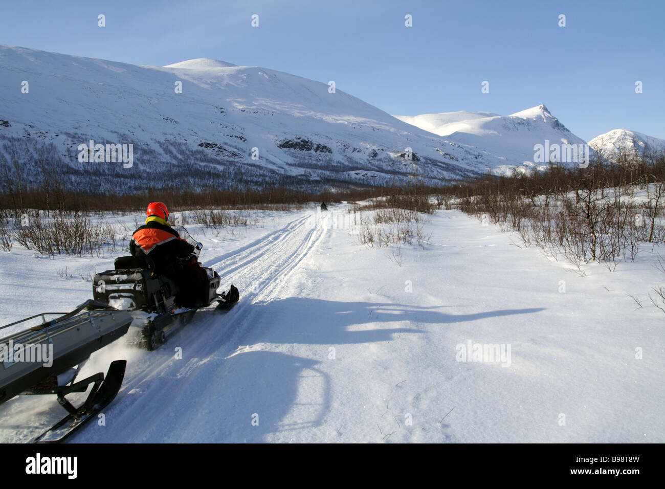 Snowmobile in the Swedish Laplands - Stock Image