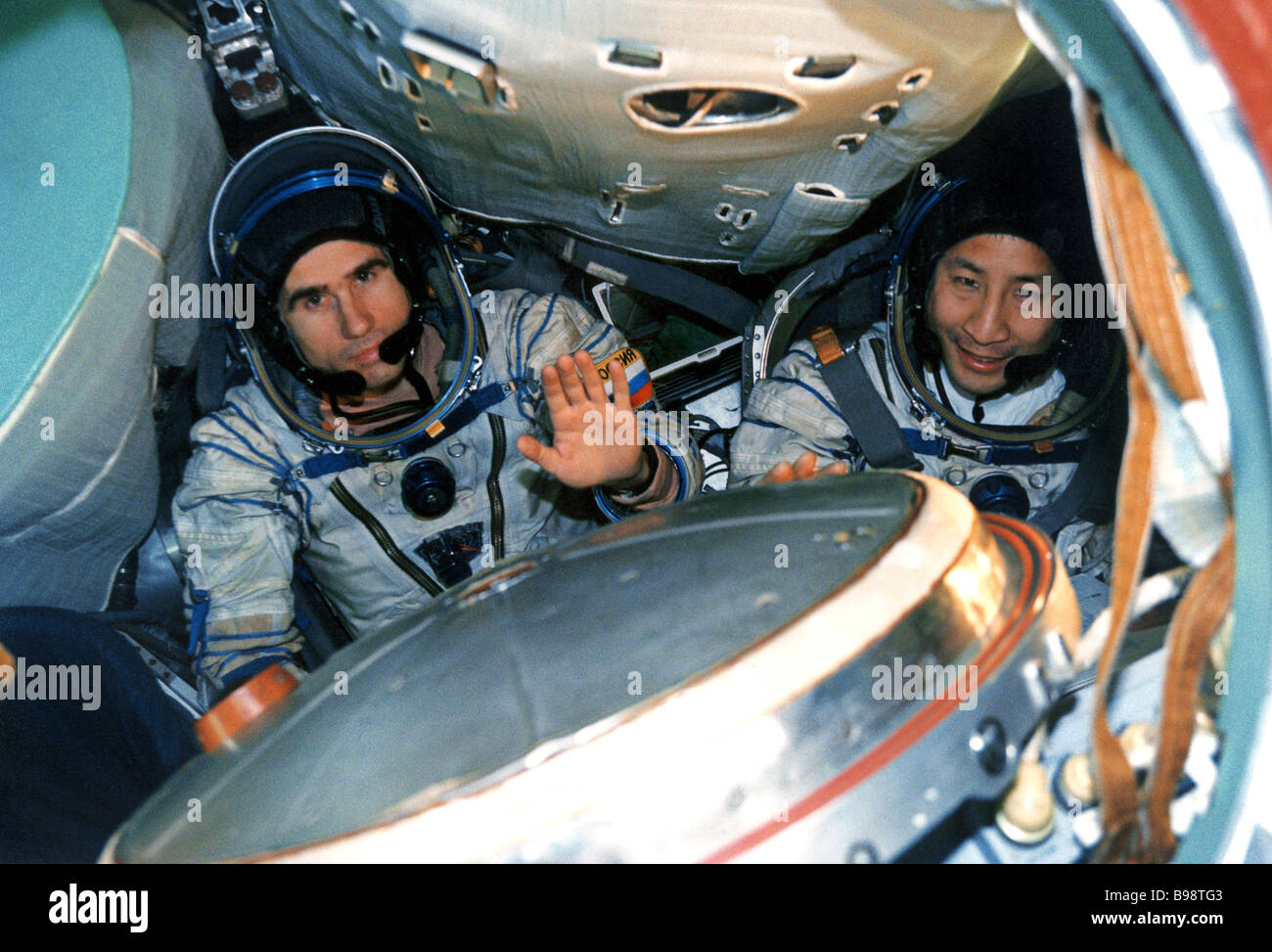 The seventh crew of the ISS Russian cosmonaut Yury Malenchenko left and American astronaut Edward Lu during a training - Stock Image