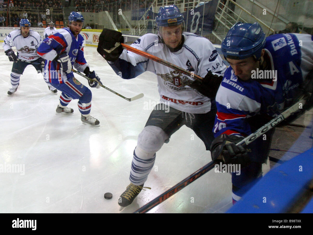 Dinamo Moscow vs Lada Togliatti playing the second game in the final playoff series of Russia s hockey championships - Stock Image