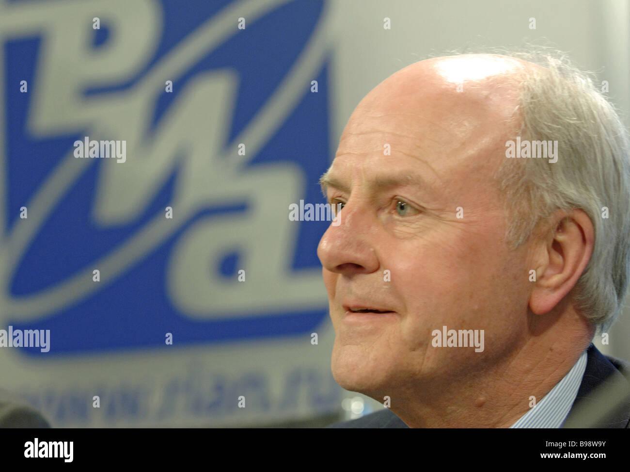 John Stuttard the Lord Mayor of London addressing a RIA Novosti news conference - Stock Image