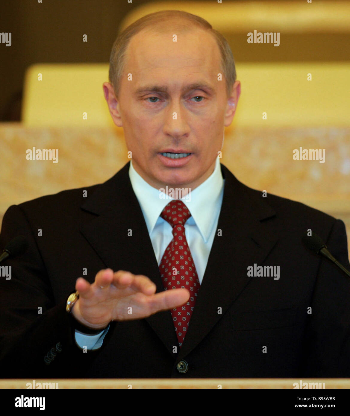 President Vladimir Putin during his annual address to the Federal Assembly - Stock Image