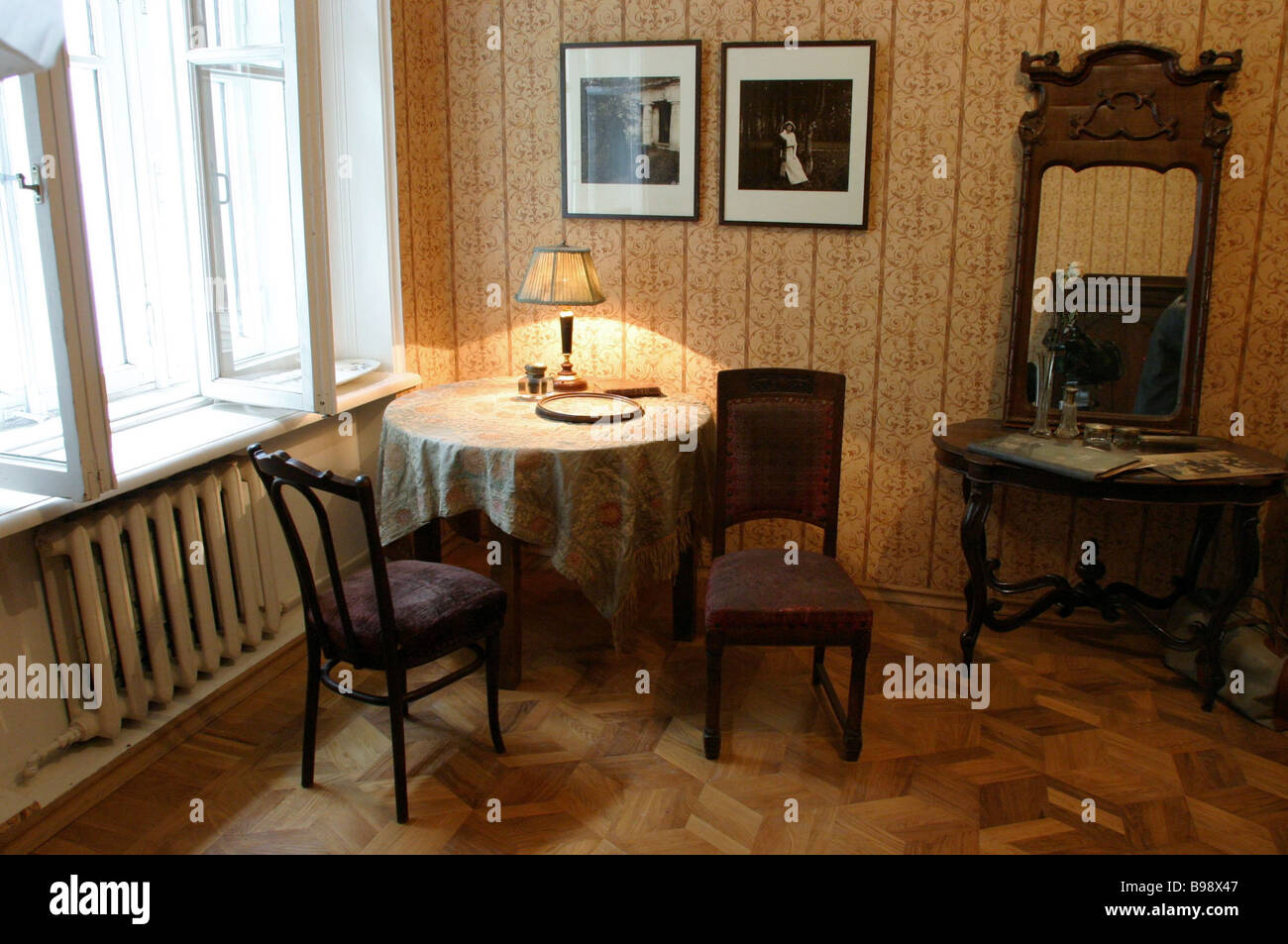 Classic writer Mikhail Bulgakov s memorial apartment has opened after thorough repairs An interior - Stock Image