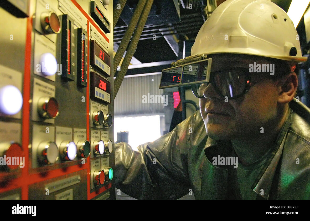 Open hearth furnace controls at the Taganrog iron and steel works - Stock Image