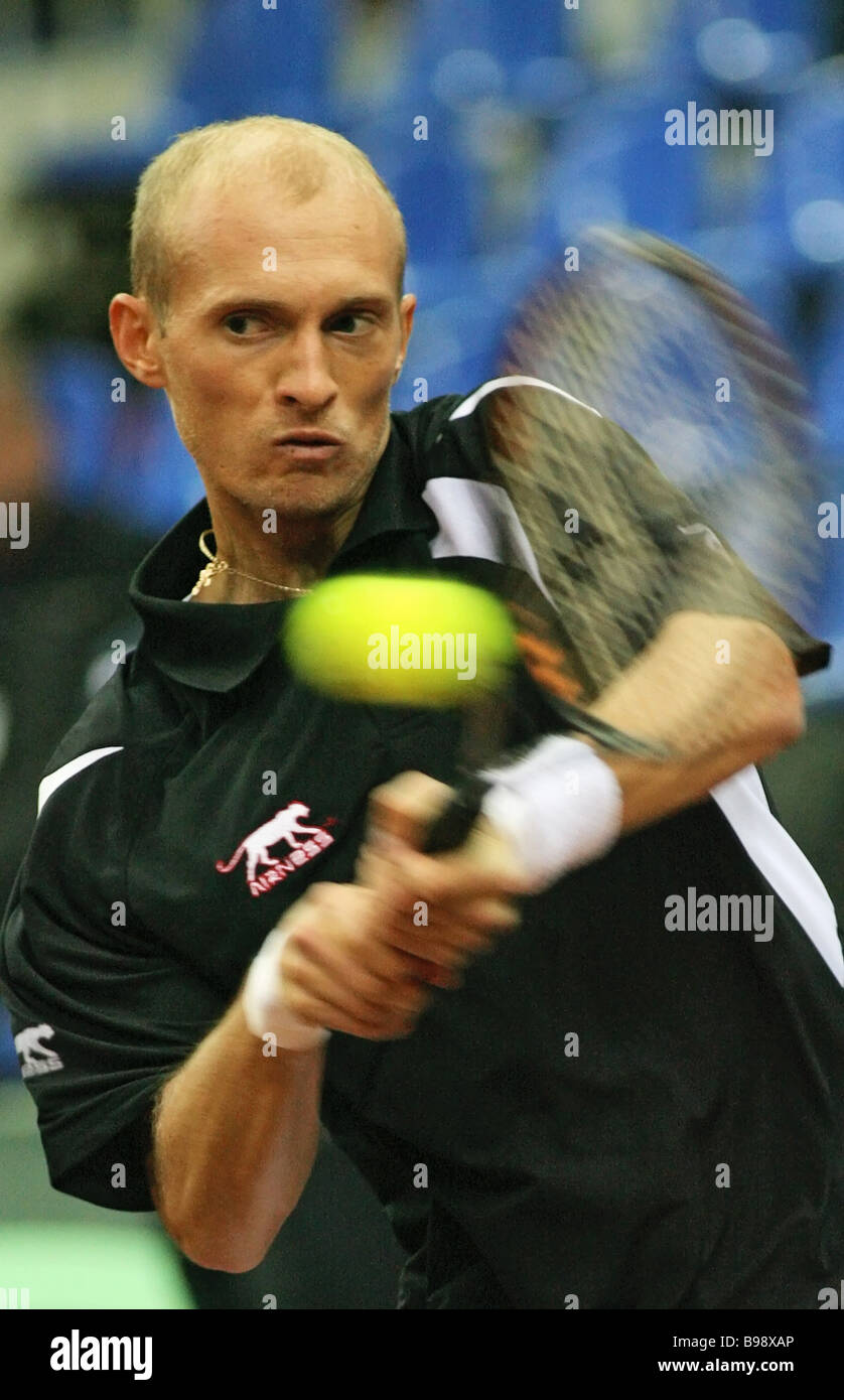 Russia s Nikolai Davydenko in a Davis Cup meet He lost the Russia France opening quarterfinals match to Paul Henri - Stock Image