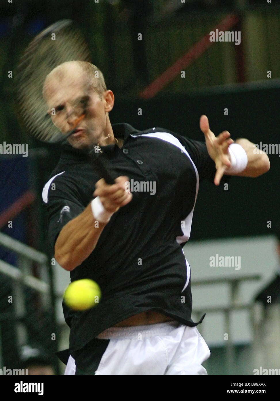 Russia s Nikolai Davydenko in a Davis Cup meet He lost the Russia France opening quarterfinals match to Paul Henri Stock Photo