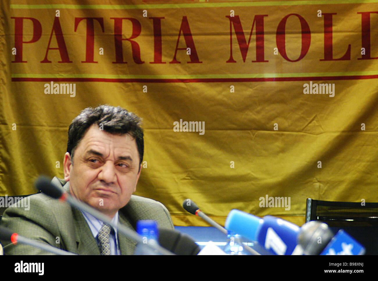 Konstantin Kuyujuklu activist of the Moldovan immigrant workers movement at a RIA Novosti press conference - Stock Image