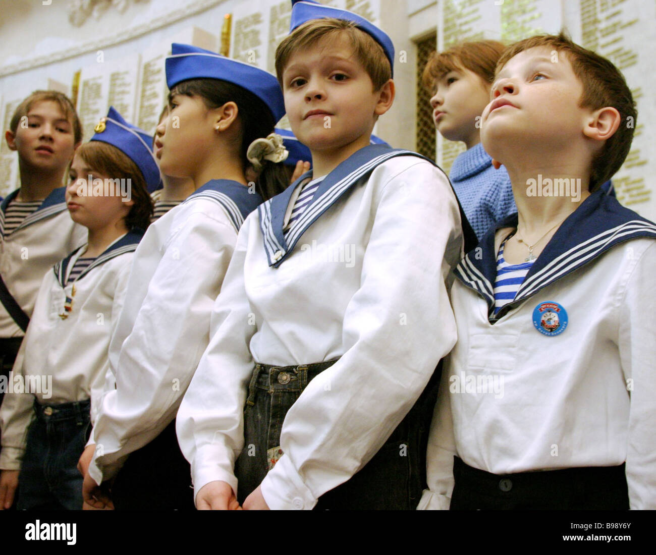 Nationwide meeting of young Russian servicemen cadets and students of navy schools cadet corps and schools with - Stock Image