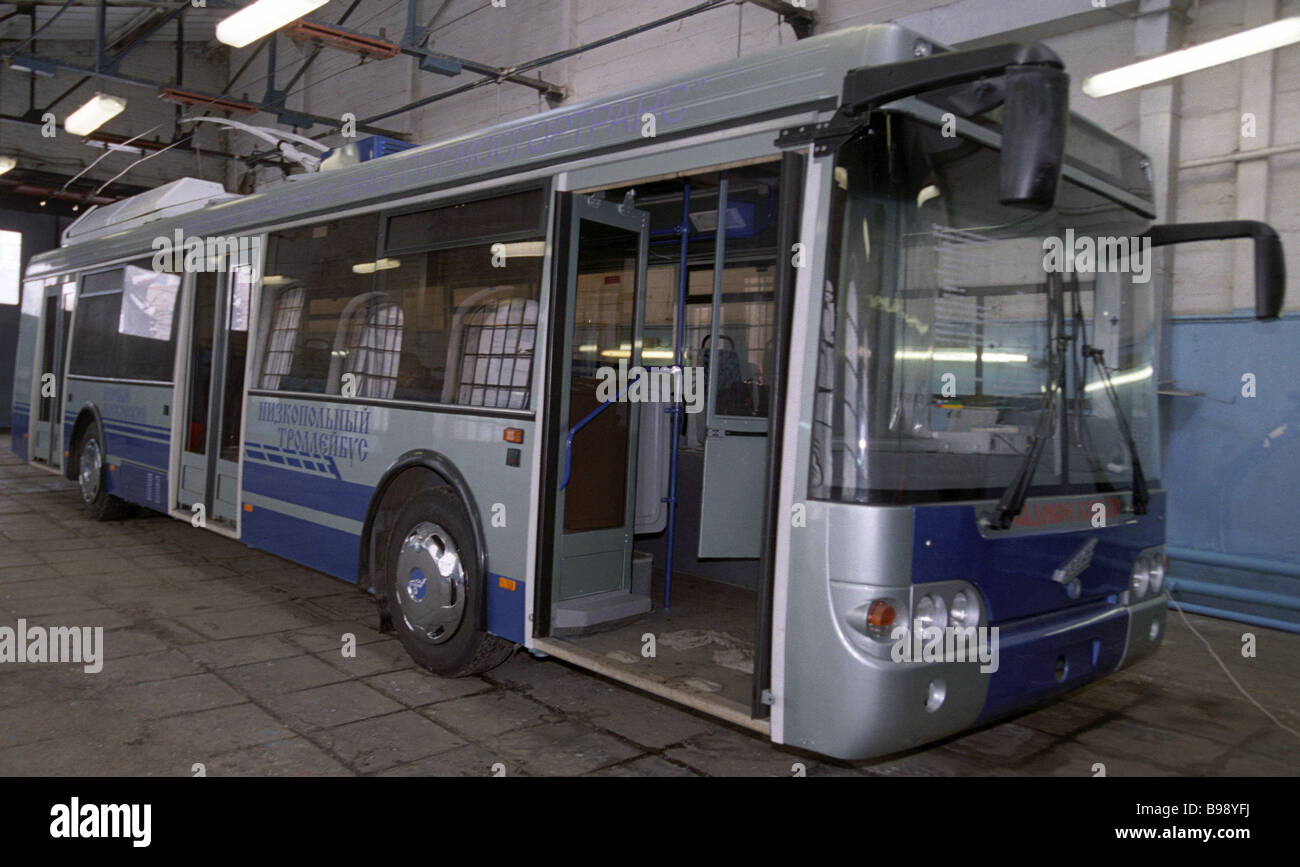 Presentation of the Sadko low floor trolleybus that can operate both on line and off line - Stock Image