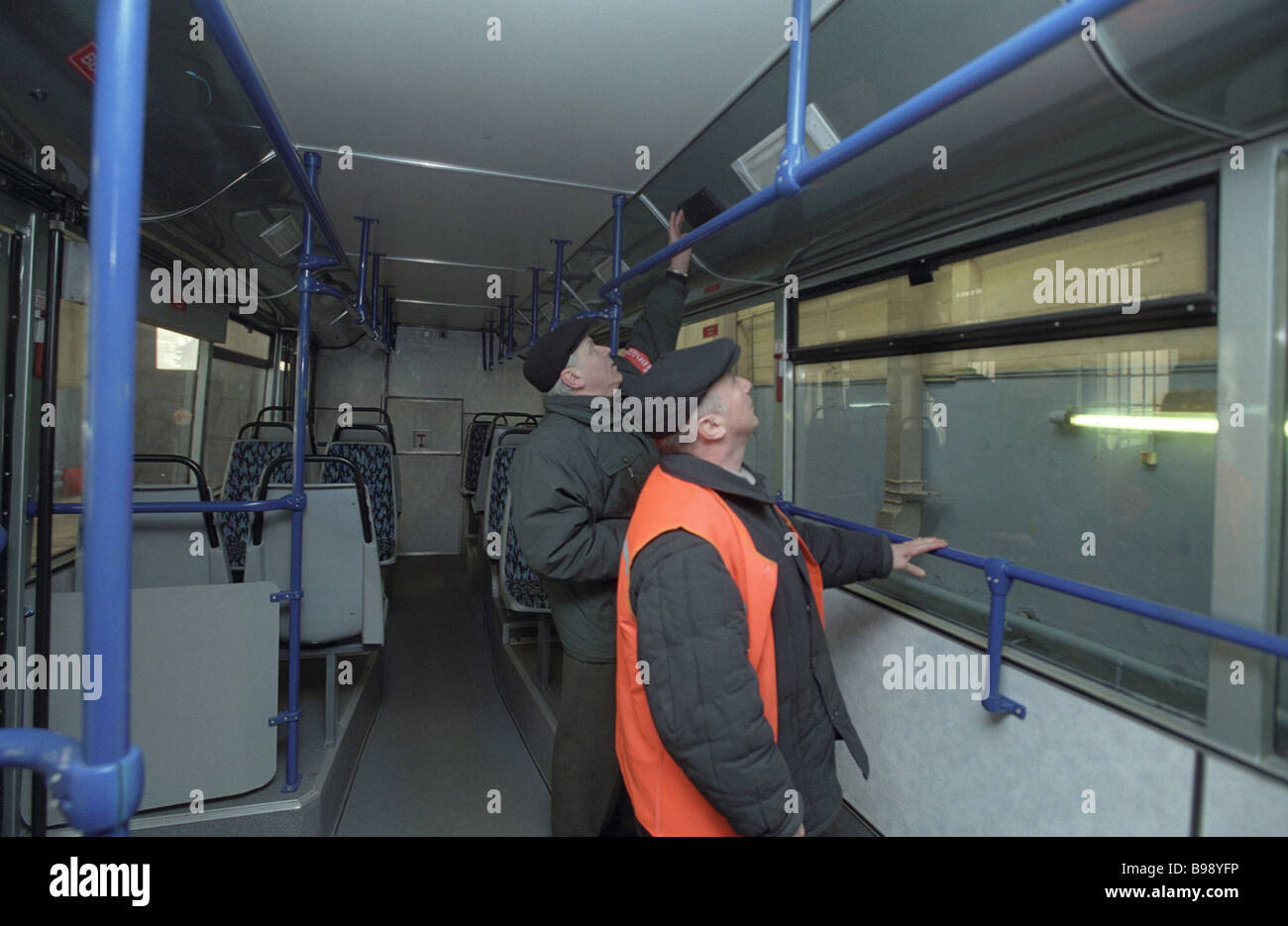 In the passenger compartment of the Sadko low floor trolleybus that can operate both on line and off line - Stock Image