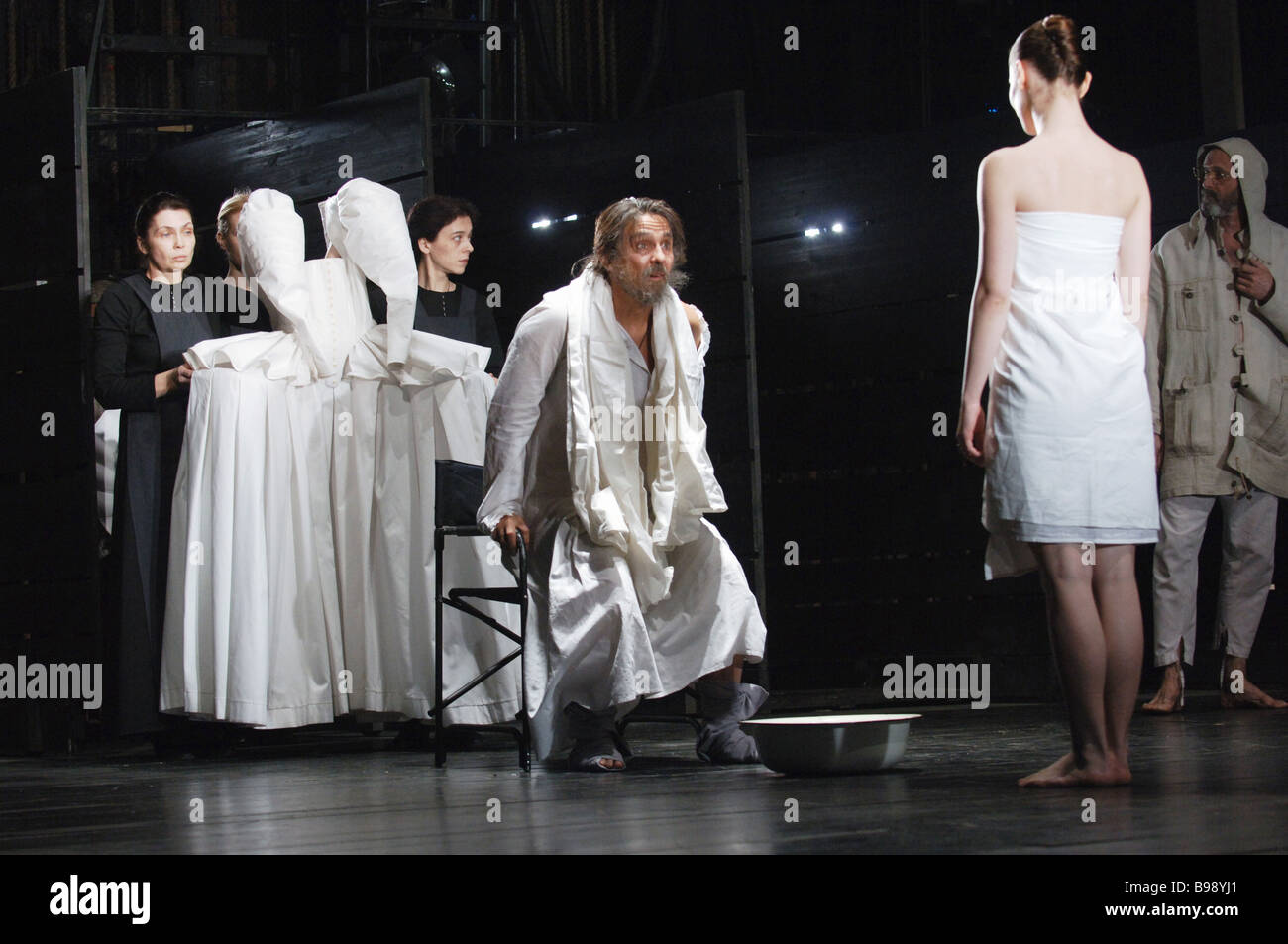 Scene from play King Lear shown at Maly Drama Theater Theater of Europe and directed by Lev Dodin - Stock Image