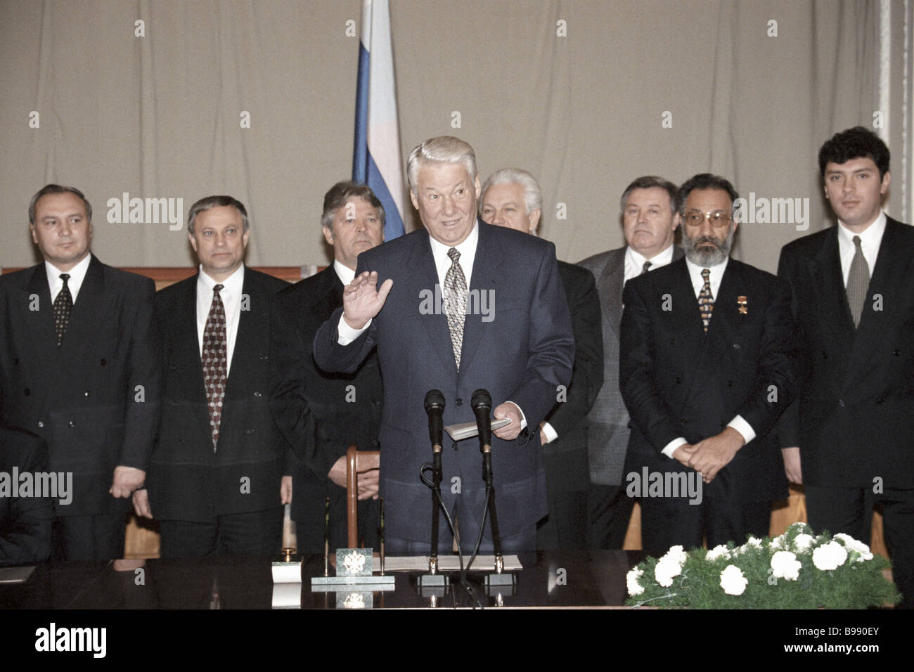 Russian President Boris Yeltsin centre attending the ceremony of signing competence delineation agreements between - Stock Image