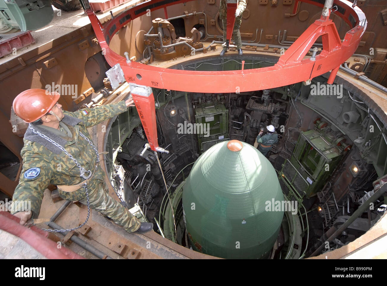 At Baikonur Cosmodrome a silo is being prepared for the launch of an RS 20 Dnepr conversion rocket that will put - Stock Image