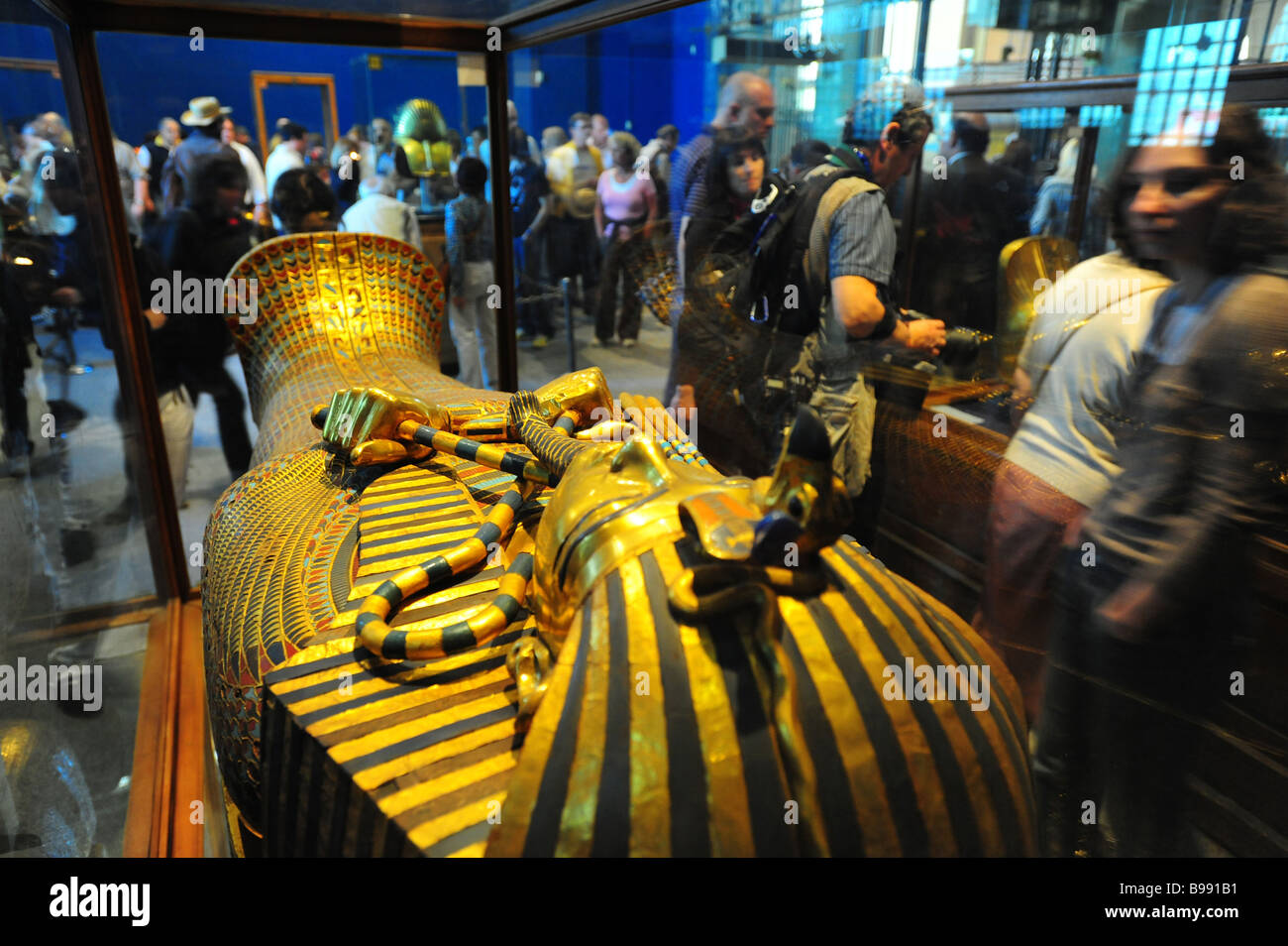 Egypt Cairo The Egyptian Museum interior museum of antiquities and ancient culture Tutankhamun s coffin - Stock Image