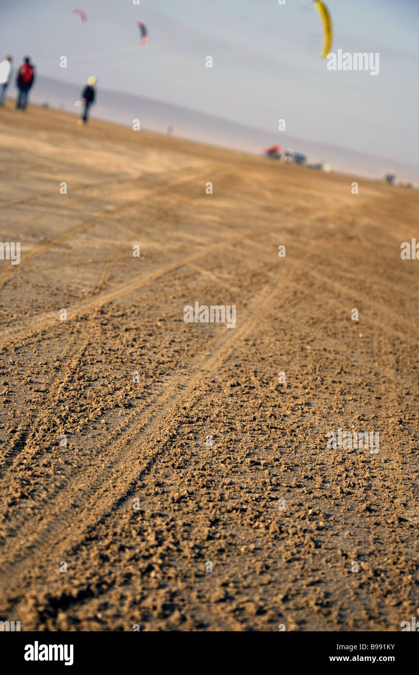 tracks in the sand - Stock Image
