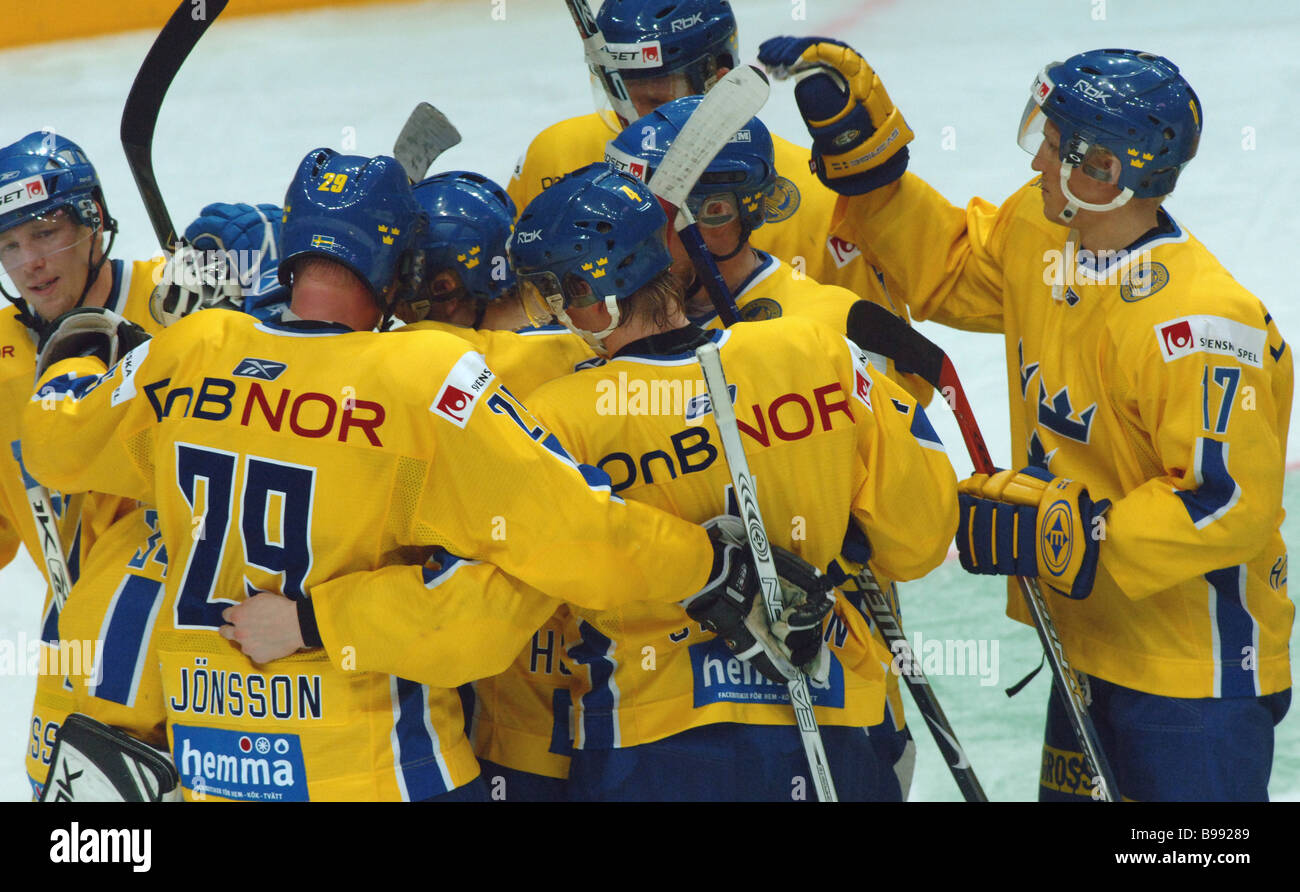 In the ice hockey Eurotour Russia was defeated by Sweden in the second final match - Stock Image
