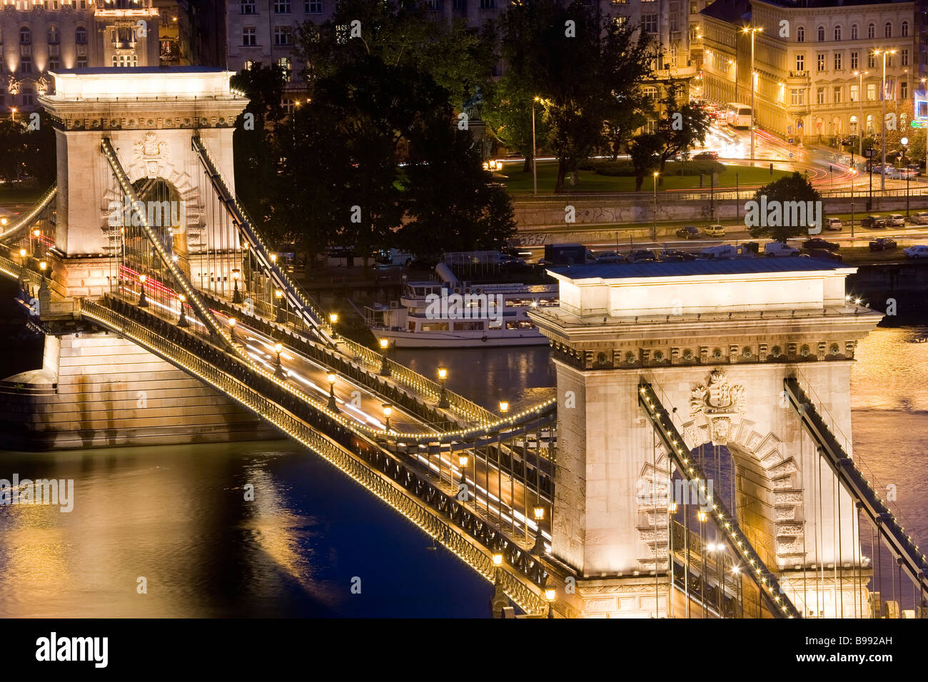 Chain Bridge Budapest Hungary - Stock Image