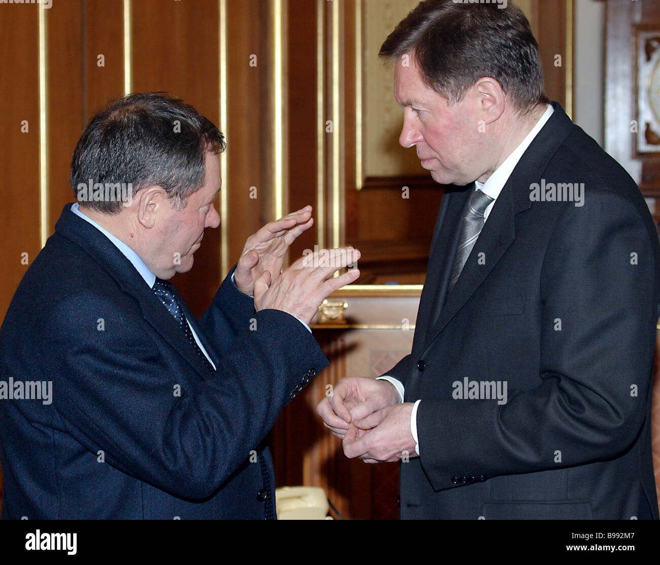 Gennady Bukaev aid to the Russian Prime Minister left and Alexander Yakovlev Russian Regional Development Minister - Stock Image
