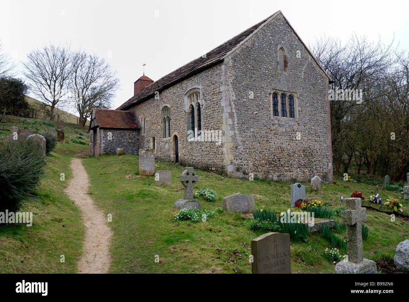 Coombes Church a Saxon church built 11th Century - Stock Image