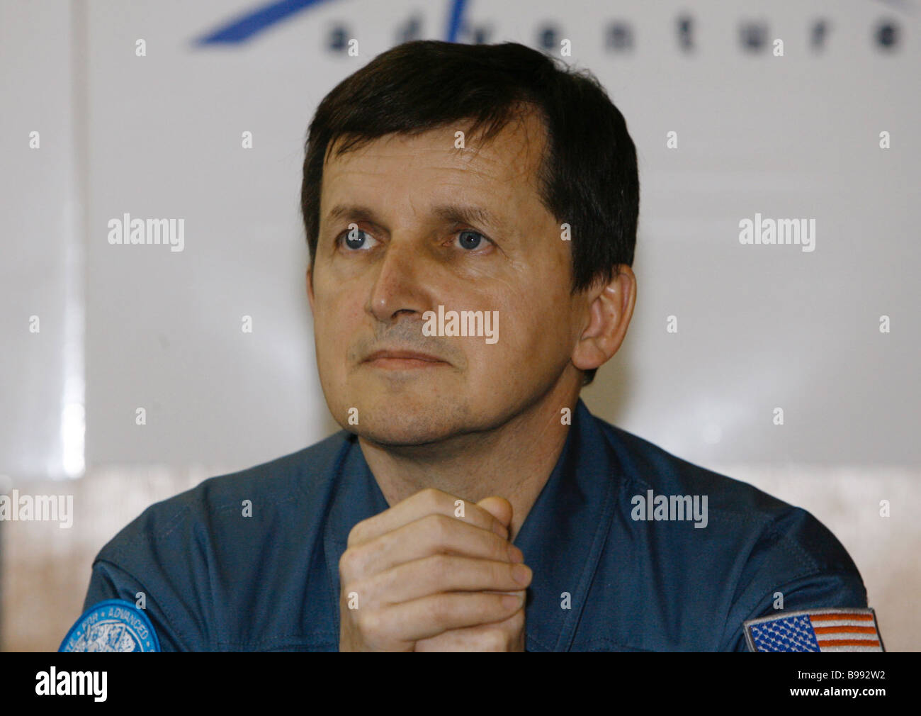 The USA s Charles Simoni of the Hungarian origin space tourist No 5 attending news conference at the Cosmonauts - Stock Image
