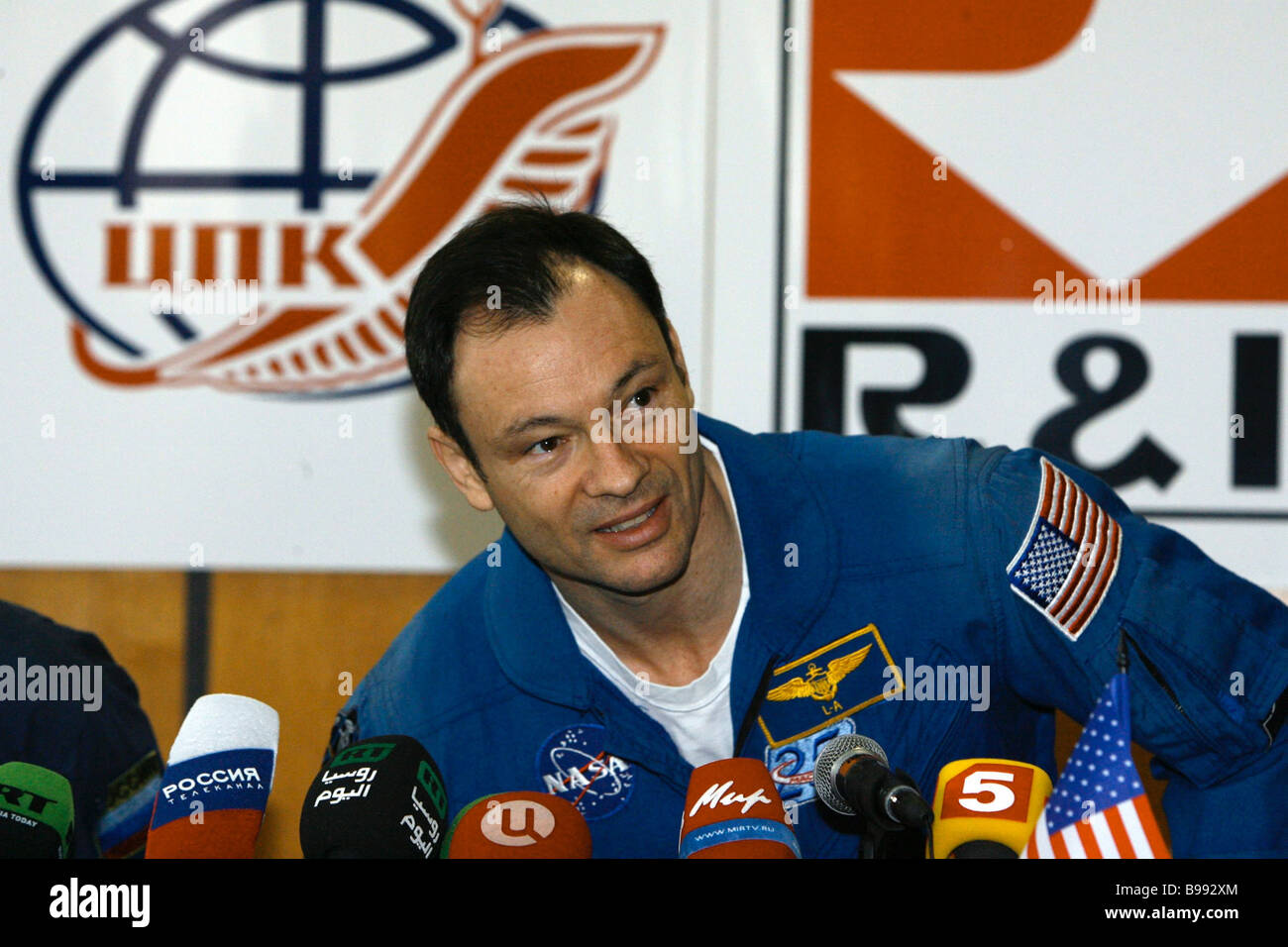 Mikhail Tyurin Russian flight engineer of the 14th expedition to the International Space Station giving news conference - Stock Image
