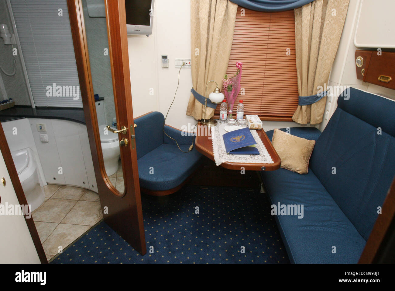 Compartment of Russia s first private tourist train its presentation having taken place in Moscow s Belorussian Stock Photo