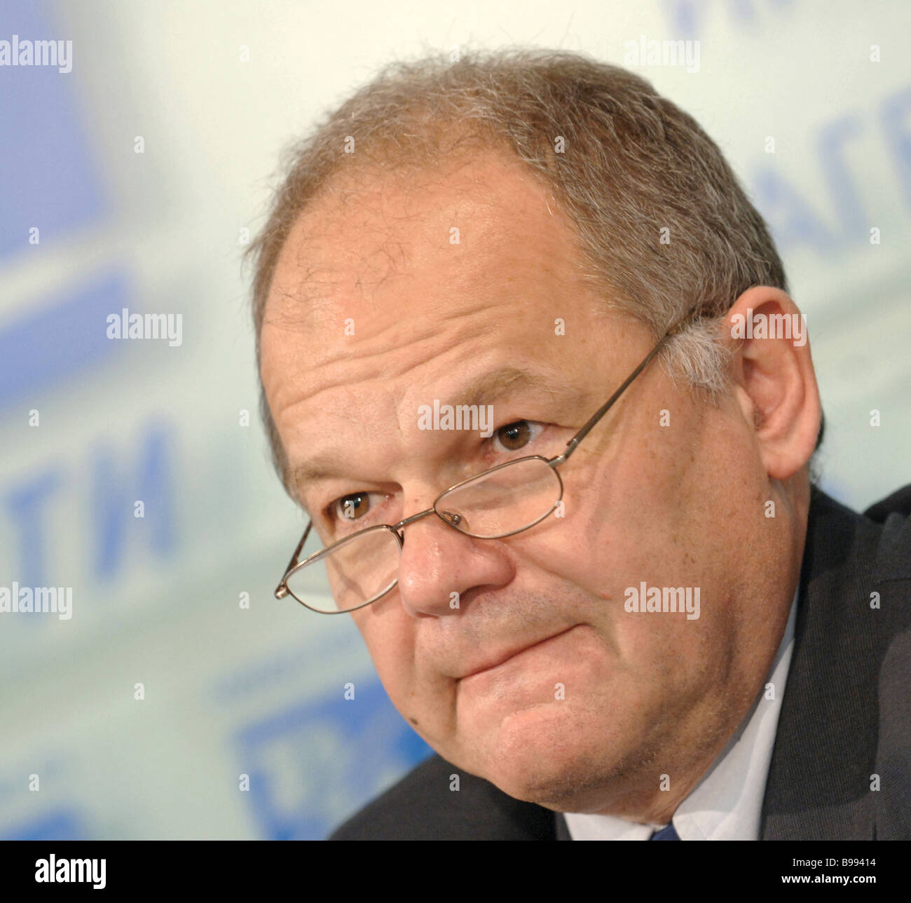 Neven Mates IMF resident representative in Moscow attending news conference dedicated to 15 years of Russia s joining - Stock Image