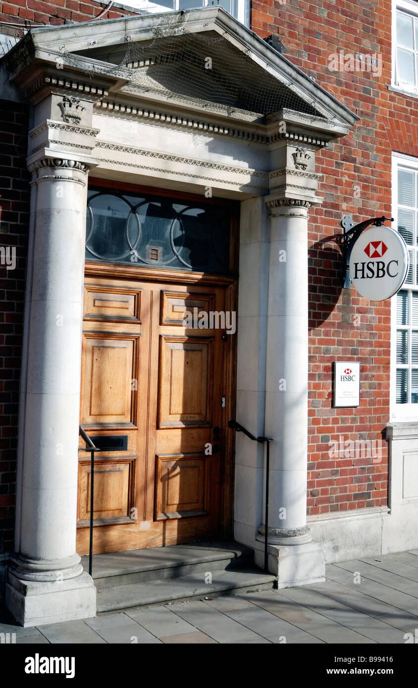 HSBC bank door - Stock Image