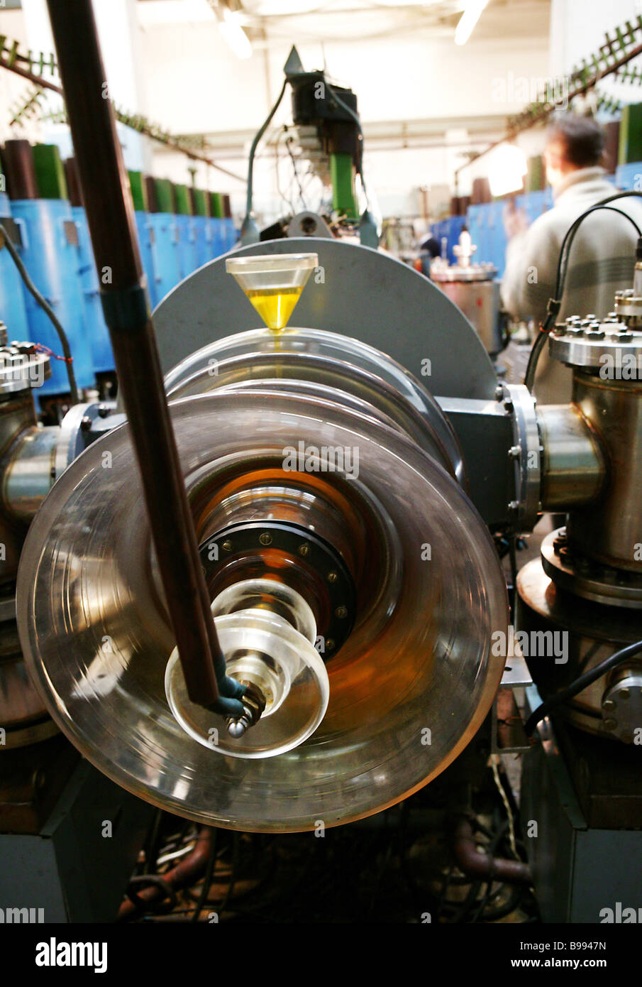 Linear induction electron accelerator LIU 3000 in the Particle physics laboratory of Joint Institute for Nuclear - Stock Image