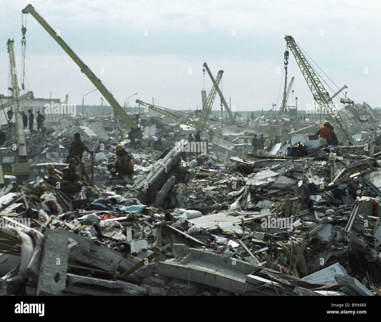 The city of Neftegorsk completely ruined by an earthquake - Stock Image