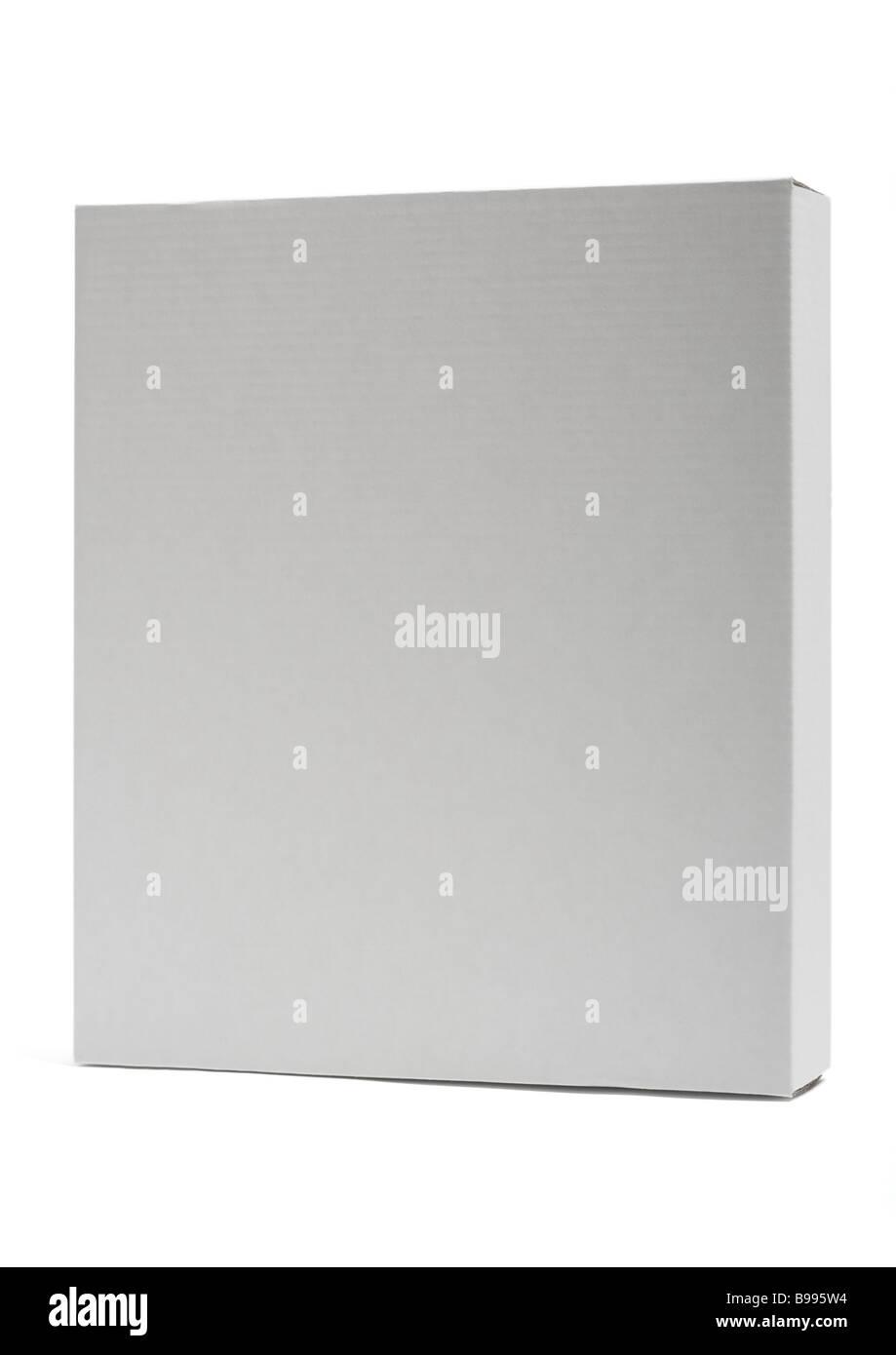 White cardboard box on white background - Stock Image