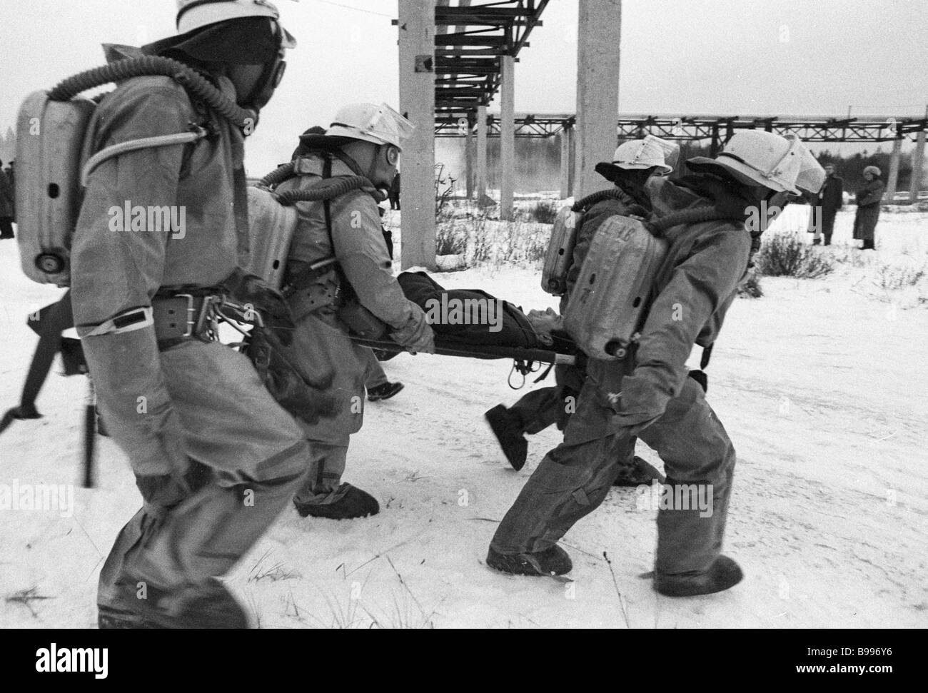 Drill to prepare for a possible disaster at the Leningrad nuclear power station - Stock Image